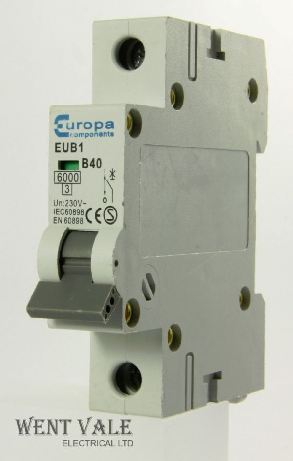 Europa Components - EUB1 - 40a Type B Single Pole MCB Used